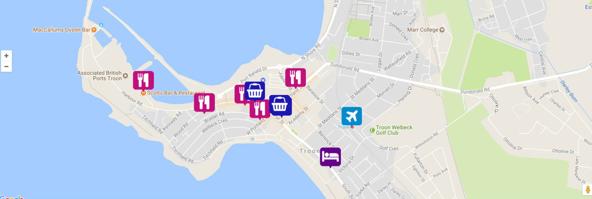 Troon Scotland Map.Free Business Listing For Winterstorm Website Hotels Cafes